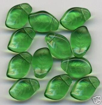 Green Leaf Beads 20 Pieces Czech Glass