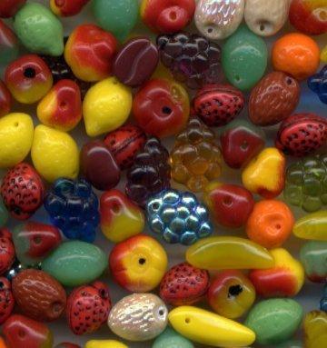 Fall Autumn Harvest Glass Fruit Beads 50 Pcs! NICE MIX