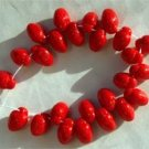 Really Red Cute Strawberry Czech Glass Fruit Beads 25