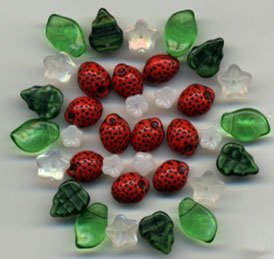 Strawberry Flower Leaves Mix Czech Glass Fruit Beads 36 pcs