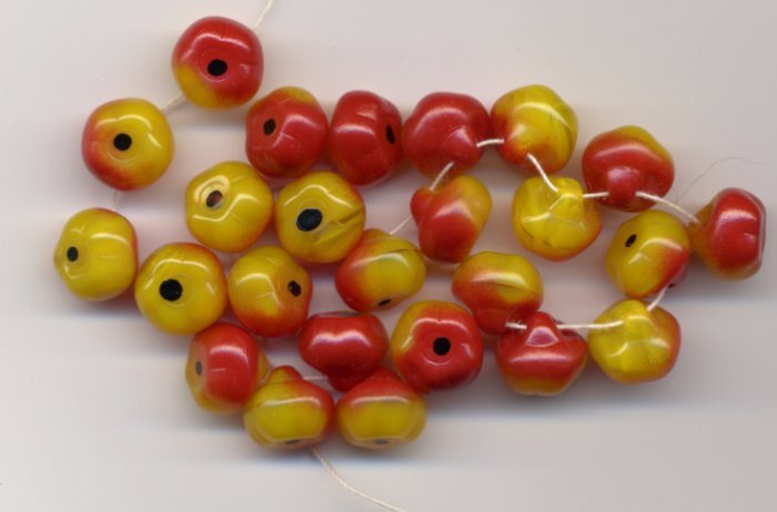 Red w Yellow Apples Glass Fruit Beads Czech