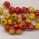 Red w Yellow Apples Glass Fruit Beads Czech