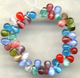 Marrakesh Tear Drop Czech Glass Beads Great Color Mix
