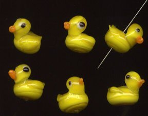 QUACK! 6 Easter Chicks or Rubber Duck Glass Beads