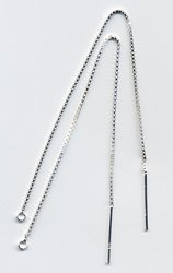 "3"" Inch Flat Sterling Silver Ear Threads Threaders 2 Pr"