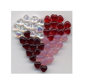 Sweet Hearts Valentine Day Glass Czech Beads Mix 48 pcs
