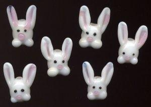 Easter Bunny Rabbit Lampwork Glass Beads 6 Pc