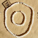 8-9 MM white Freshwater natural Pearl necklace earrings bracelet set
