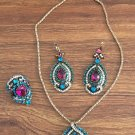 925 silver over gold plated Indian Multi Stone Jewelry Set