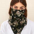 Floral pattern flower print black washable handmade face mask