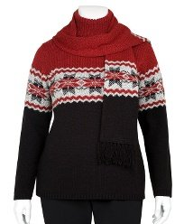 FASHION BUG Essentials by Maggie Jacquard Sweater BLUE PLUS-SIZE 2X