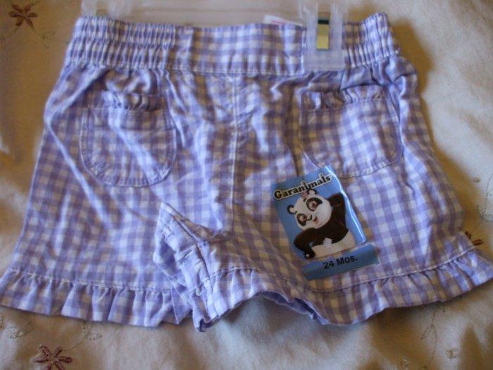 GARANIMALS Purple Checkered Shorts ~ 24M ~ NWT