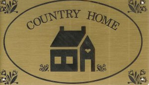 "T&T#45  Brass Door ""COUNTRY HOME"" Plaque Sign - NIP"