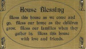 T&T#45  Brass Door (House Blessing) Plaque Sign ~ NIP