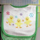 BABY BIB Pair Green Boy/Girl Chicks Velcro-Close ~ NWT