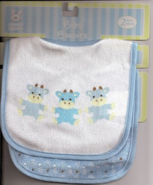BABY BIB Pair Blue Boy Cows Moo  Velcro-Close ~ NWT