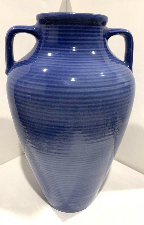 """A Santos Portugal Jay Willfred Andre by Sadek Large Blue Urn / Vase 16"""""""
