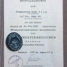 1943 BLACK WOUND BADGE VERWUNDETENABZEICHEN SIGNED 107 CARL WILD HAMBURG