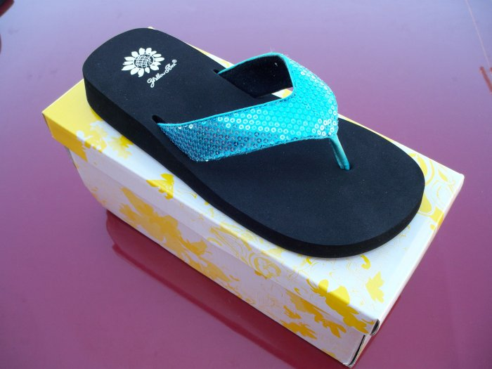 Cool Turquoise Flip Flops from Yellow Box - Size 8