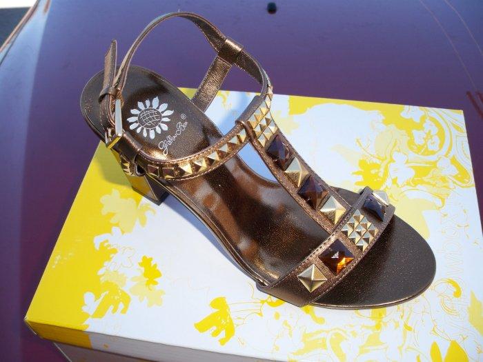 Bronze High Heel w/ Gold Studs & Gem Stones - Size 7