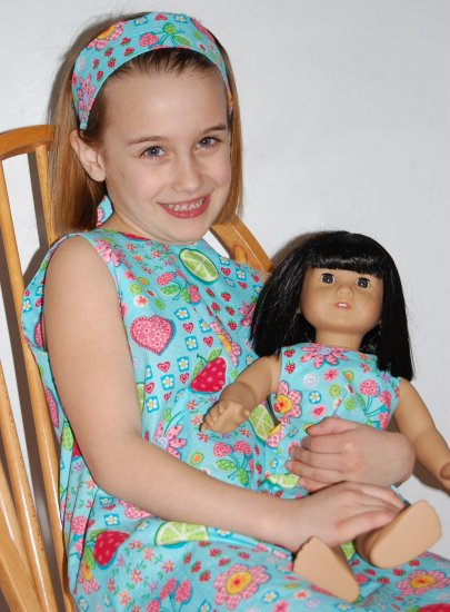 Handmade dress with a doll dress to match!