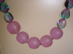 Green & Mauve necklace - sterling silver