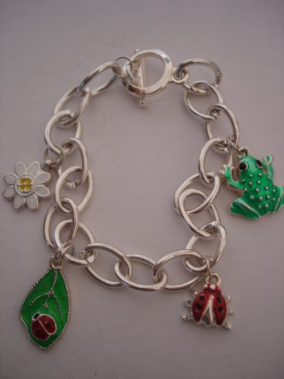 Silver chain links with Charms