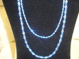 Double stranded 2-toned, Crystal Sapphire/Silver necklace