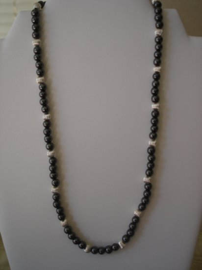 Hematite/silver Magnetic Necklace