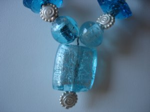 Chunky Blue Glass/Silver Necklace