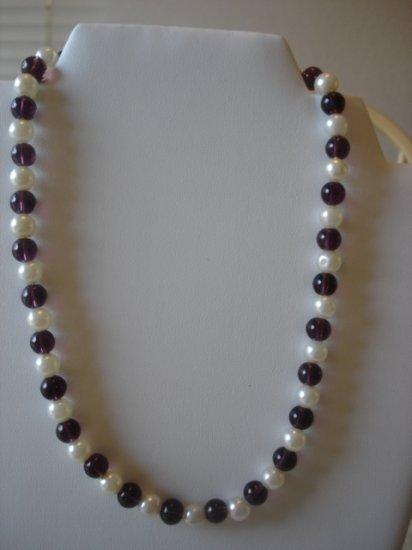 Amethyst/Pearl Necklace