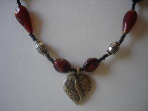Heart Pendant with Red Jasper Gemstones