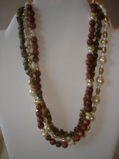 3 stranded Unakite/Goldstone Gemstone Necklace