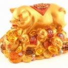 Pigs on Bed of Gold Ingots and Coins - Small