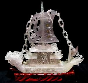 Natural Fluorite Dragon Boat For Business