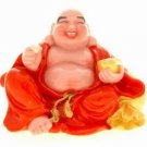 Red Robed Laughing Buddha Holding an Ingot