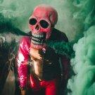 Deluxe Novelty Halloween Costume Latex Head Mask Skull Head Red