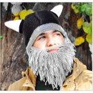 Creative Original Barbarian Knit Beard Hat Wig Beanie Hat Funny Knit Hat Beard Face Mask