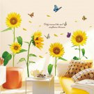Sunflower Wall Decals Butterfly Stickers Plants Removable Wall Stickers for Bedroom Living Room