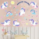 Unicorn Wall Decals Princess Reflective with Heart Rainbow Vinyl Wall Stickers