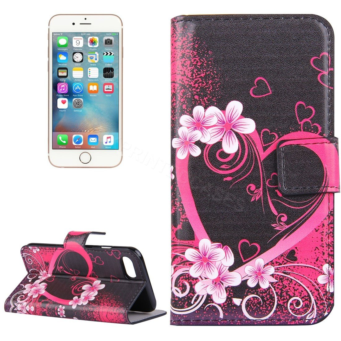 Pink Hearts Flower Flip Mobile Phone Wallet Case For iPhone