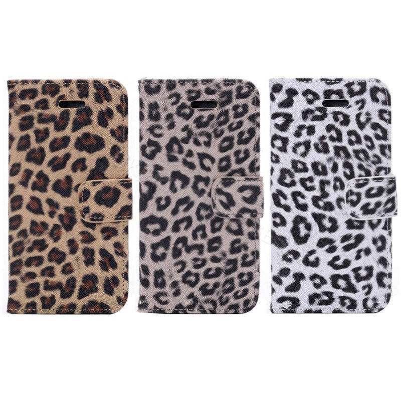 Leopard Animal Print PU Leather Flip Mobile Phone Wallet Case For iPhone