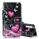Pink Heart Butterfly Flip PU Leather Mobile Wallet Case For Sony