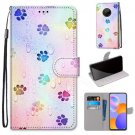 Colourful Paw Print Flip PU Leather Wallet Phone Case For LG