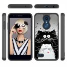 Cartoon Cats Black White TPU PC Hard Mobile Phone Case For Alcatel