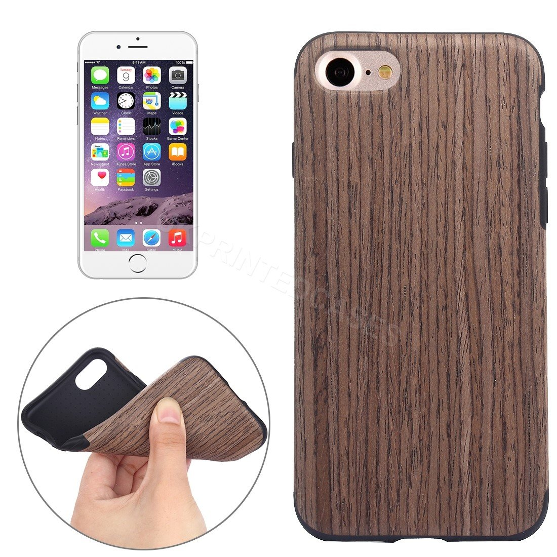 Wood Grain Effect Soft Mobile Phone Case For iPhone