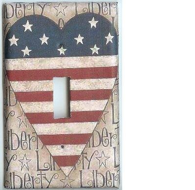 Americana heart flag single light switch plate cover switchplate