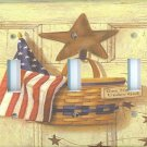 Americana Flag with basket triple Switchplate cover switch plate