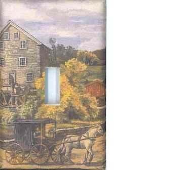 Amish farm decorative single light switch plate cover switchplate