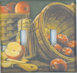Apples in basket decorative double light switch plate switchplate